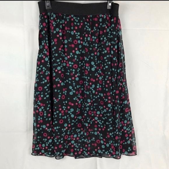 NWT Lularoe Lola black & pink polka dot skirt sz L